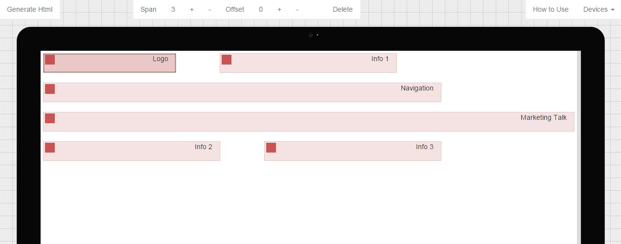 Визуальный конструктор Bootstrap 3 Grid Builder