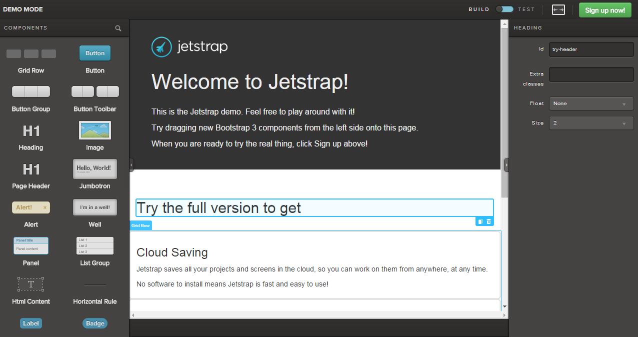 Визуальный конструктор Jetstrap