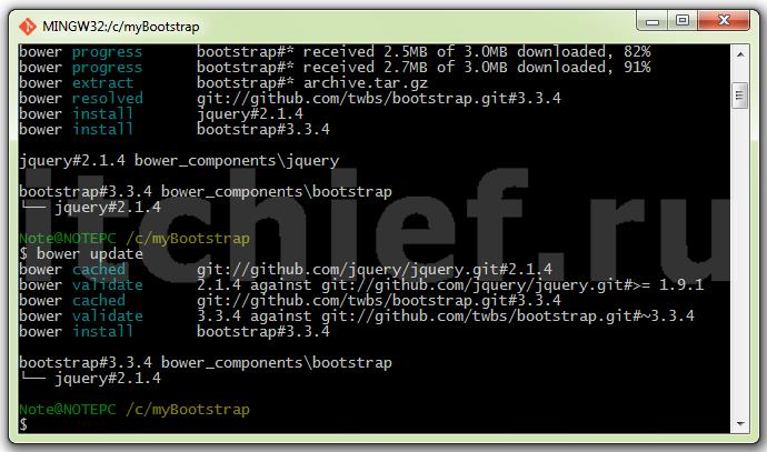 Обновление Twitter Bootstrap и пакетов от которых он зависит с помощью Bower