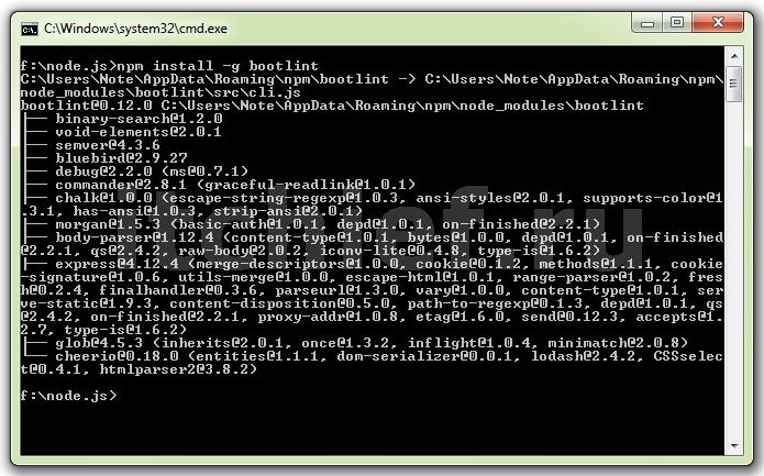 Node.js - установка Bootlint
