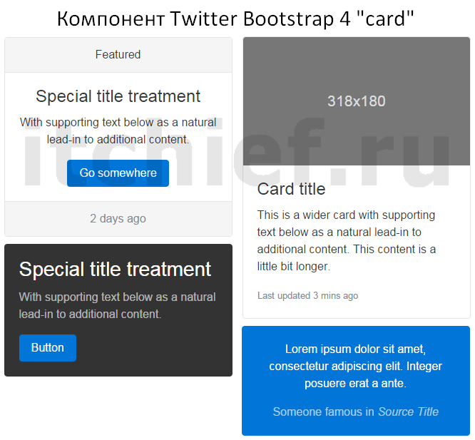 Bootstrap 4 - Компонент card